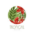 tropical logo design round geometric badge vector image