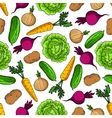 Vegetarian seamless pattern with fresh vegetables vector image vector image
