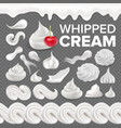 whipped cream set white creamy swirl vector image vector image