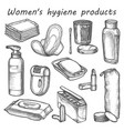 woman hygiene products sketch bathroom vector image