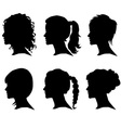 woman silhouette with hair vector image vector image