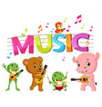 word music with animal playing music vector image