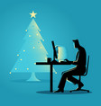 working during christmas vector image