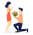 young man giving flowers to his beloved woman vector image