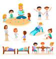 kindergarten characters flat icons set vector image