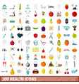 100 health icons set flat style vector image
