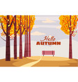 autumn landscape fall trees with yellow leaves vector image