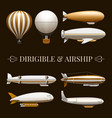Balloon And Airship Icons Set vector image vector image