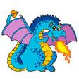 big blue fire dragon vector image