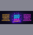 big sale neon sign on brick wall background vector image vector image