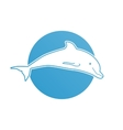Blue flat logo dolphin for company and business vector image vector image