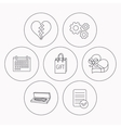 Broken heart gift box and wedding jewelry icons vector image vector image
