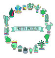 cactus doodle round frame with place for text vector image