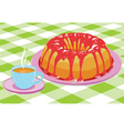 cake with glaze and a cup hot drink vector image vector image