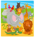 cartoon cute animal characters group vector image vector image