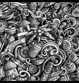 cartoon cute doodles hand drawn africa seamless vector image vector image