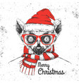 christmas hipster fashion animal lemur vector image vector image