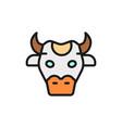 cow head sacred animal india flat color line