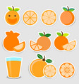 cute orange sticker set vector image vector image
