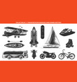 engraved style transportation collection vector image vector image