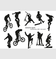 Extreme sport silhouette - skateboarding kick vector image vector image