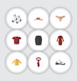 flat icon garment set of banyan foot textile t vector image vector image