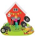 garage sale woman sell used car parts tires vector image vector image