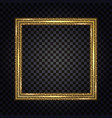 gold square frame with glowing glitter effect vector image