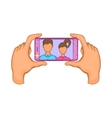 Hands photographed on a cell phone icon vector image vector image