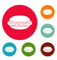 hot dog icons circle set vector image