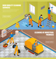 isometric industrial cleaning banner set vector image vector image