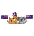 kangaroo koala and wombat with hat australian flag vector image