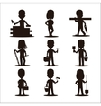 Kids builders characters silhouette vector image vector image