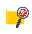 mail spam icon with skull vector image vector image