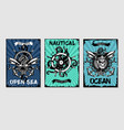 nautical vintage posters set retro style cartoon vector image