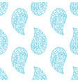 paisley seamless pattern blue ornaments on white vector image