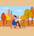 people on date in autumn park couple in city vector image vector image