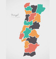 portugal map with states and modern round shapes vector image vector image