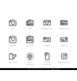 pro camera icons line set digital slr film vector image vector image