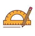 protractor pencil graphic design tools vector image