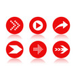 red arrow icons round icons with reflection vector image vector image