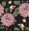 seamless pattern vintage dahlia flowers vector image vector image