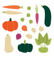 set collection of fresh autumn fall vegetables vector image vector image