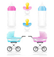 set icons perambulator bottle pacifier pink and vector image vector image