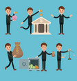 set of businessmens cartoons vector image vector image