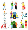 set of men and women tourists vector image