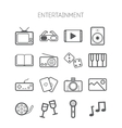 set simple monochromatic entertainment icons vector image