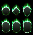 set six frames surrounded with green flame vector image