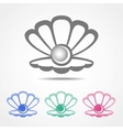 shell icon with a pearl in different colors vector image vector image