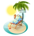 Snowman eating ice cream Snowman in deck chair vector image vector image